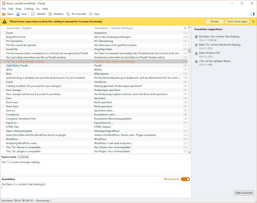 دانلود آخرین نسخه نرم افزار Poedit - Gettext Translations Editor برای ترجمه افزونه ها و پوسته ها خارجی برای سیستم عامل ویندوز ، لینوکس ، مک